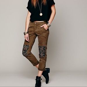 Free People patched ditsy twill trousers olive 12